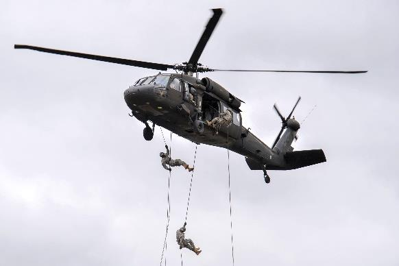 Students Conduct Their Final Rappel From a UH-60 (Blackhawk)